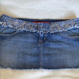 GUESS BEADED JEAN SKIRT WITH EMBROIDERY